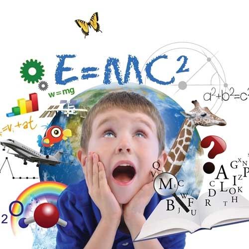 Estudiante de secundaria con las boca abierta y las manos en la cara mostrando preocupación por todo lo que le rodea. Se encuentra rodeado de fórmulas matemática, animales, fórmulas químicas y todo tipo de contenido que se estudia en educación secundaria.