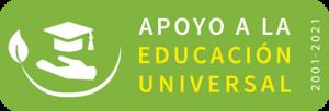 """texto que dice """"Apoyo a la educación universal. 2001-2021"""