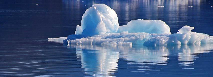 Bloques de agua en estado sólido (hielo) sobre agua en estado líquido (mar).