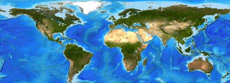 Mapa mundial en vista de relieve donde se observan las zonas boscosas, desérticas, ríos y lagos principales y mares y océanos.