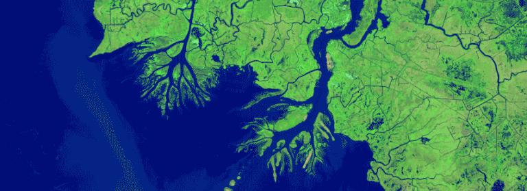 mapa de distribución de agua en el que se ve la desembocadura del río