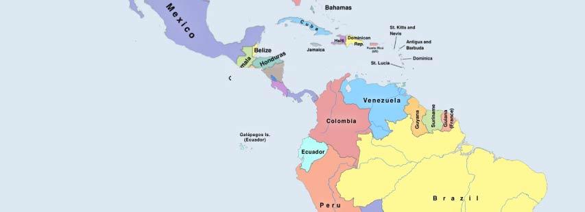 Detalle del continente de américa en mapa geográfico ampliado. Los nombres de los países pintados de distintos colores.