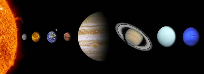 Representación del sistema solar con todos sus planetas. El Sol, Mercurio, Venus, Tierra, Marte, Júpiter, Saturno, Urano y Neptuno.