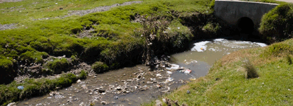 Río poco caudaloso con algunos residuos. A los lados del río se ve campo y césped.