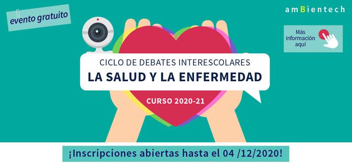 Corazón sostenido por dos manos con una cámara encima indicando un ciclo de debates interescolares sobre la salud y la enfermedad